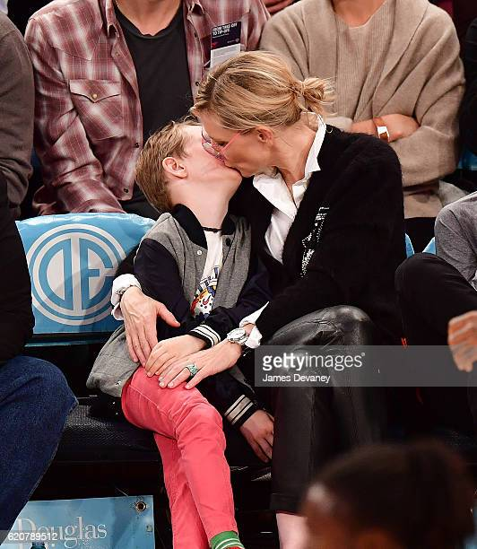 Cate Blanchett and sons attend New York Knicks vs Houston Rockets game at Madison Square Garden on November 2 2016 in New York City