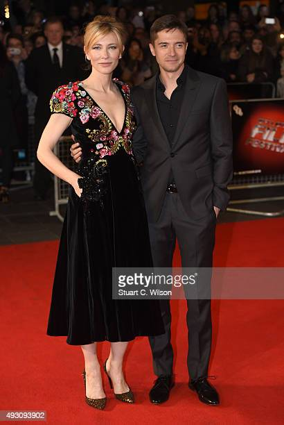 Cate Blanchett and Topher Grace attend the 'Truth' Fellowship Special Presentation Gala during the BFI London Film Festival at Odeon Leicester Square...