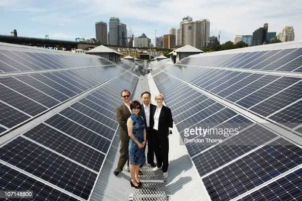 Cate Blanchett Andrew Upton and Dr Zhengrong Shi poses upon the rooftop of the Sydney Theatre Company at an event to celebrate the 'switchon' of the...
