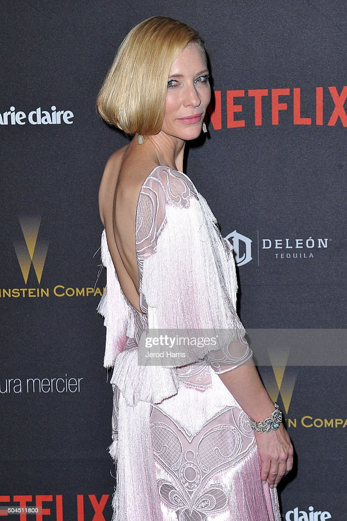 Cate Blanchett arrives at the 2016 Weinstein Company and Netflix Golden Globes After Party on January 10, 2016 in Los Angeles, California.