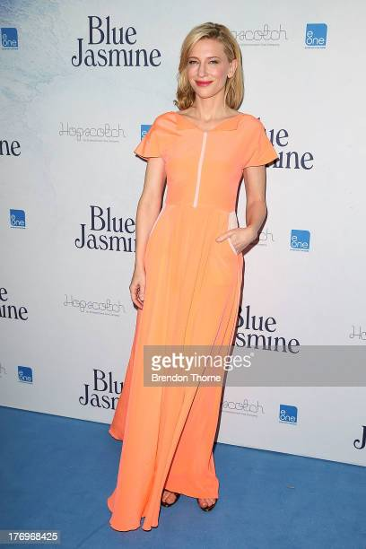 Cate Blanchett arrives at the Blue Jasmine Australian premiere at the Hayden Cremorne Orpheum on August 20 2013 in Sydney Australia