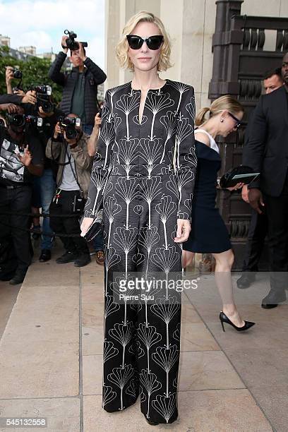 Cate Blanchett arrives at the Giorgio Armani Prive Haute Couture Fall/Winter 20162017 show as part of Paris Fashion Week on July 5 2016 in Paris...