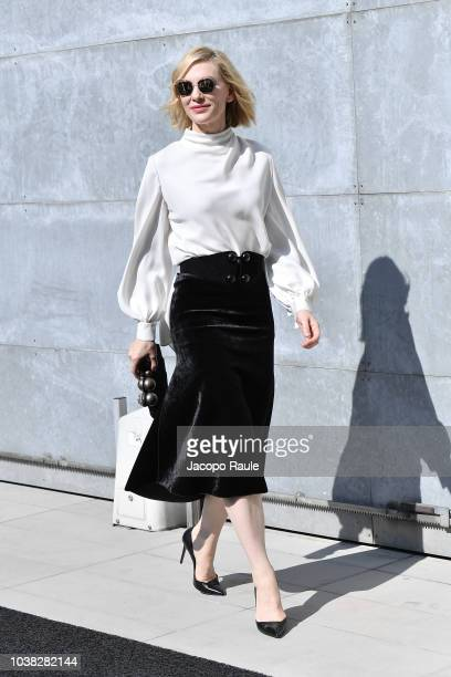 Cate Blanchett arrives at the Giorgio Armani show during Milan Fashion Week Spring/Summer 2019 on September 23 2018 in Milan Italy