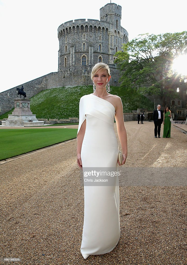 Cate Blanchett arrives for a dinner to celebrate the work of The Royal Marsden hosted by the Duke of Cambridge at Windsor Castle on May 13, 2014 in Windsor, England.