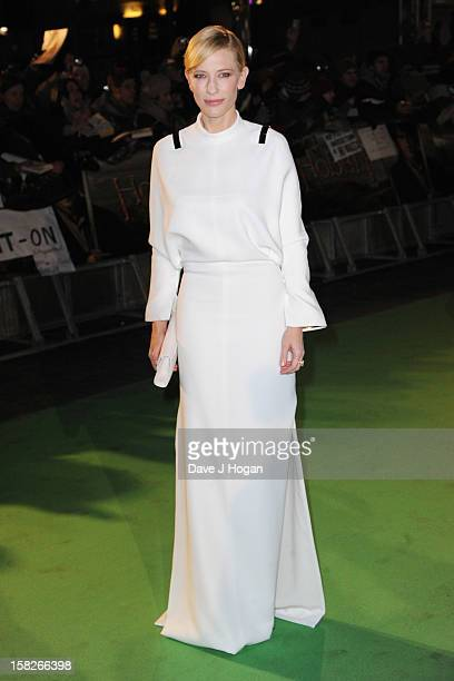 """Cate Blanchett attends a royal film performance of """"The Hobbit: An Unexpected Journey"""" at The Empire Leicester Square on December 12, 2012 in London,..."""