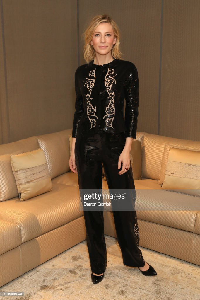 Cate Blanchett attends as Giorgio Armani hosts trunk show at the Giorgio's London event to celebrate the opening of the new Giorgio Armani and Armani/Casa boutiques on Sloane Street on April 12, 2018 in London, England.