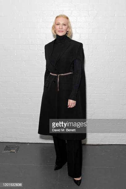 Cate Blanchett attends the Burberry Autumn/Winter 2020 show during London Fashion Week at Kensington Olympia on February 17 2020 in London England