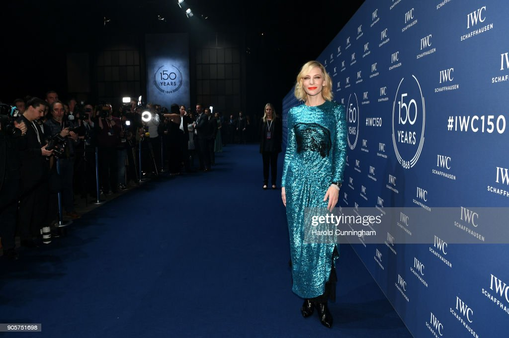Cate Blanchett attends the IWC Schaffhausen Gala celebrating the Maison's 150th anniversary and the launch of its Jubilee Collection at the Salon International de la Haute Horlogerie (SIHH) on January 16, 2018 in Geneva, Switzerland. #IWC150