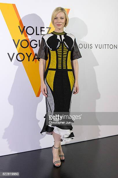 Cate Blanchett attends the Louis Vuitton Exhibition 'Volez Voguez Voyagez' on April 21 2016 in Tokyo Japan