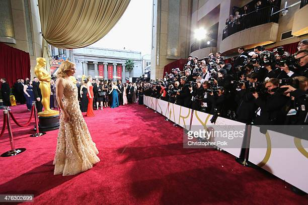 Cate Blanchett attends the Oscars at Hollywood Highland Center on March 2 2014 in Hollywood California