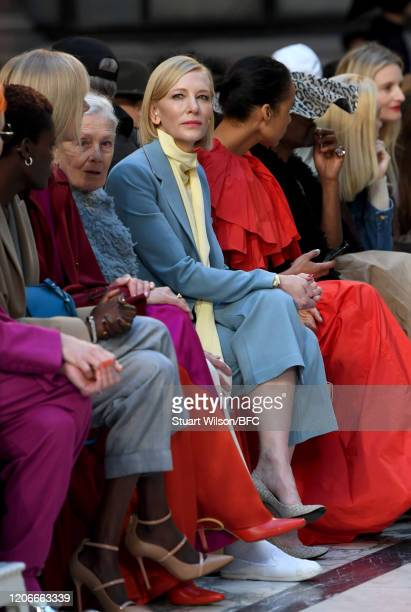 Cate Blanchett attends the Roksanda Show during London Fashion Week February 2020 on February 16, 2020 in London, England.