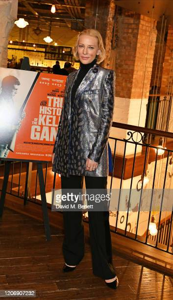 "Cate Blanchett attends the UK Premiere of ""True History Of The Kelly Gang"" at the Picturehouse Central on February 17, 2020 in London, England."