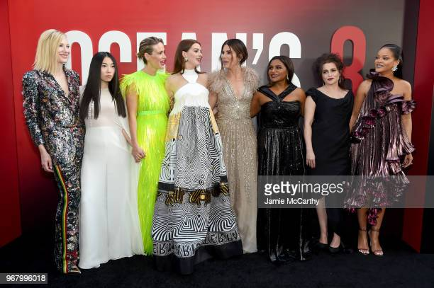 Cate Blanchett Awkwafina Sarah Paulson Anne Hathaway Sandra Bullock Mindy Kaling Helena Bonham Carter and Rihanna attend the 'Ocean's 8' World...
