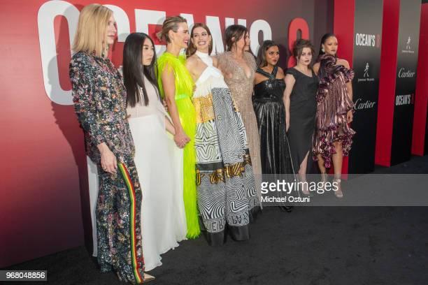 Cate Blanchett Awkwafina Sarah Paulson Anne Hathaway Sandra Bullock Mindy Kaling Helena Bonham Carter and Rihanna attend 'Ocean's 8' World Premiere...