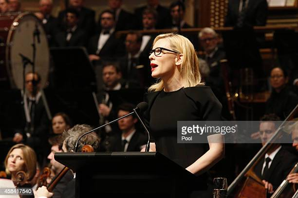 Cate Blanchett delivers a speech at the state memorial service for former Australian Prime Minister Gough Whitlam at Sydney Town Hall on November 5...