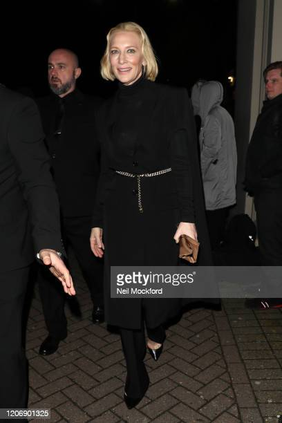 Cate Blanchett departs Burberry at Kensington Olympia during LFW February 2020 on February 17 2020 in London England