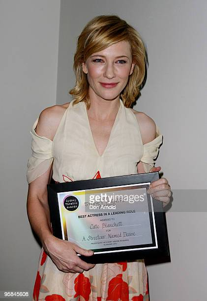 Cate Blanchett displays the award for Best Actress in a leading role for A Streetcar Named Desire at the 2009 Sydney Theatre Awards, rewarding work...