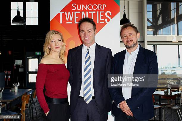 Cate Blanchett Geoff Summerhayes CEO of Suncorp Life and Andrew Upton Sydney Theatre Company Artistic Director pose during the launch of 'Suncorp...