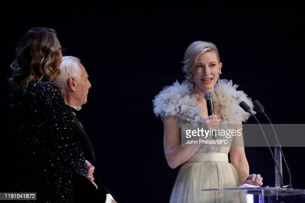Cate Blanchett Giorgio Armani and Julia Roberts on stage during The Fashion Awards 2019 held at Royal Albert Hall on December 02 2019 in London...