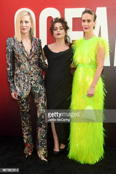Cate Blanchett Helena Bonham Carter and Sarah Paulson attend the 'Ocean's 8' World Premiere at Alice Tully Hall on June 5 2018 in New York City