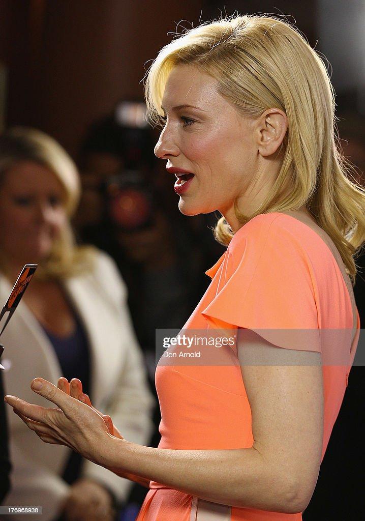 Cate Blanchett is interviewed at the 'Blue Jasmine' Australian premiere at the Hayden Cremorne Orpheum on August 20, 2013 in Sydney, Australia.