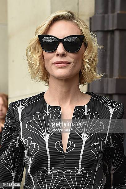 Cate Blanchett is seen arriving at Armani Prive Fashion show during Paris Fashion Week Haute Couture F/W 20162017 on July 5 2016 in Paris France