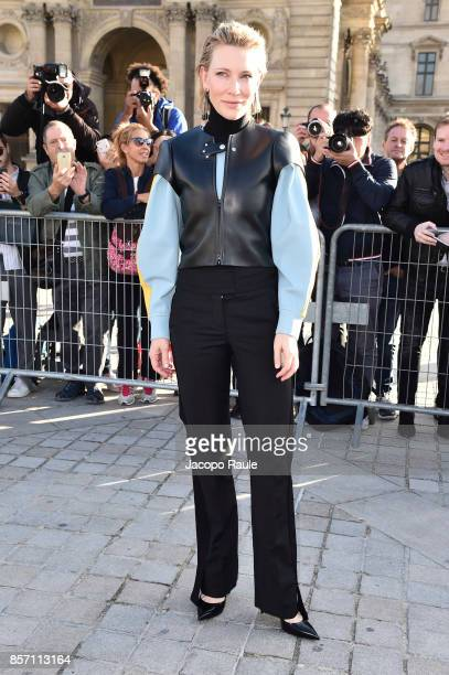 Cate Blanchett is seen arriving at Louis Vuitton show during Paris Fashion Week Womenswear Spring/Summer 2018 on October 3 2017 in Paris France