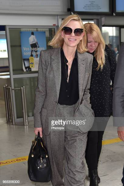 Cate Blanchett is seen arriving at Nice Airport during the 71st annual Cannes Film Festival at Nice Airport on May 6 2018 in Nice France