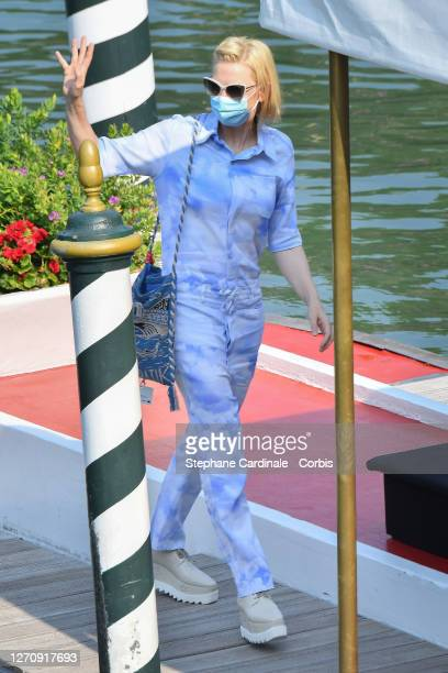 Cate Blanchett is seen arriving at the Excelsior during the 77th Venice Film Festival on September 06, 2020 in Venice, Italy.