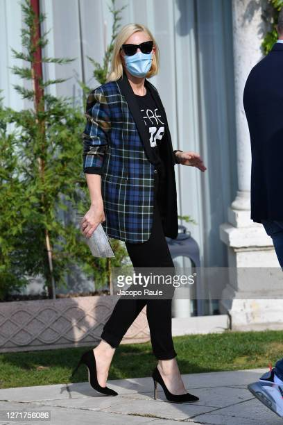 Cate Blanchett is seen arriving at the Excelsior during the 77th Venice Film Festival on September 11, 2020 in Venice, Italy.