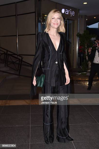 Cate Blanchett is seen arriving at Vanity Fair dinner during the 71st annual Cannes Film Festival at on May 9 2018 in Cannes France