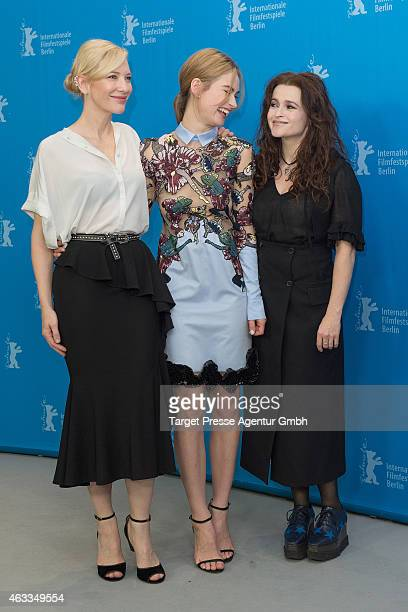 Cate Blanchett, Lily James and Helena Bonham Carter attend the 'Cinderella' photocall during the 65th Berlinale International Film Festival at Grand...