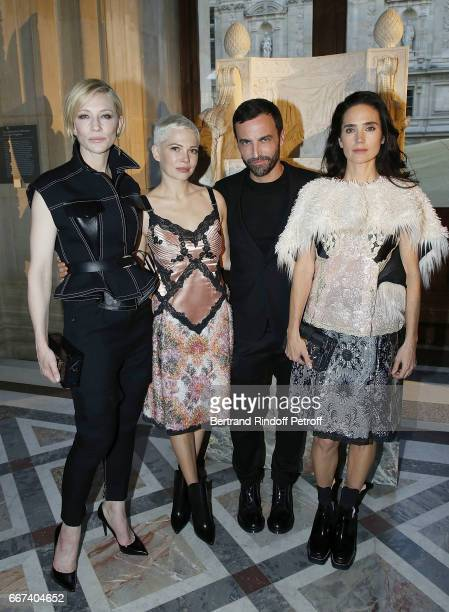 Cate Blanchett Michelle Williams Nicolas Ghesquiere and Jennifer Connelly attend the LVxKOONS exhibition at Musee du Louvre on April 11 2017 in Paris...