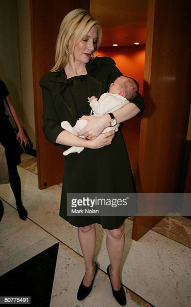 Cate Blanchett of Australia is pictured with her new son Ignatius Martin Upton during day one of the Australia 2020 Summit held at Parliament House...