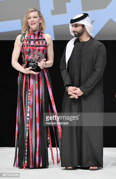 Cate Blanchett on stage after receiving herHonorary Award with HH Sheikh Mansoor bin Mohammed bin Rashid Al Maktoum during the Opening Night Gala of...