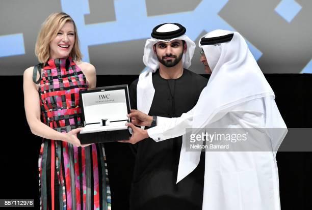 Cate Blanchett on stage receives her Honorary Award with HH Sheikh Mansoor bin Mohammed bin Rashid Al Maktoum and DIFF Chairman Abdulhamid Juma...