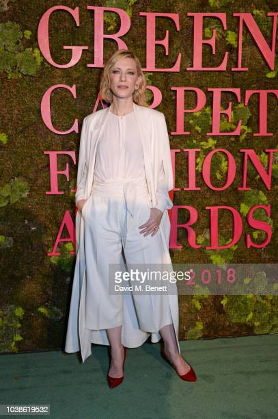 Cate Blanchett poses backstage at The Green Carpet Fashion Awards Italia 2018 at Teatro Alla Scala on September 23 2018 in Milan Italy