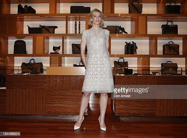 Cate Blanchett poses for the media at the official opening of the newest Louis Vuitton Maison at King and George streets on December 2 2011 in Sydney...