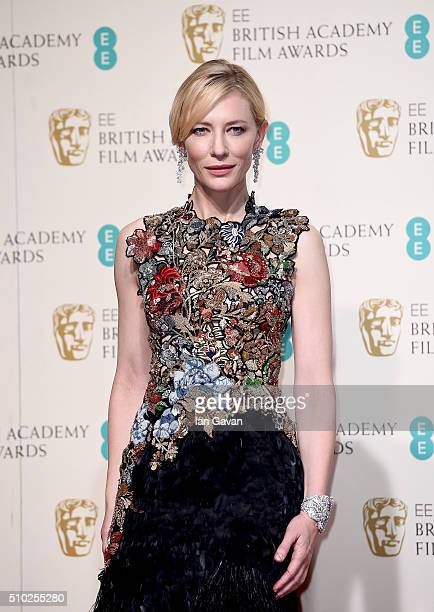 Cate Blanchett poses in the winners room at the EE British Academy Film Awards at the Royal Opera House on February 14 2016 in London England