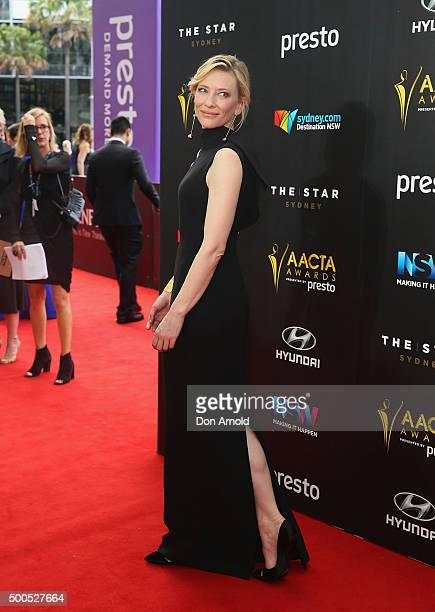 Cate Blanchett poses on the red carpet for the 5th AACTA Awards at The Star on December 9, 2015 in Sydney, Australia.