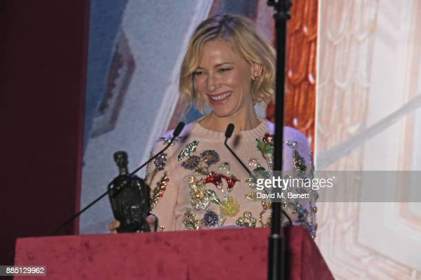 Cate Blanchett presents an award at the London Evening Standard Theatre Awards 2017 at the Theatre Royal Drury Lane on December 3 2017 in London...