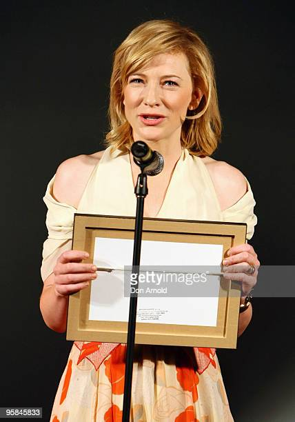 Cate Blanchett receives the award for Best Actress in a leading role for A Streetcar Named Desire at the 2009 Sydney Theatre Awards, rewarding work...