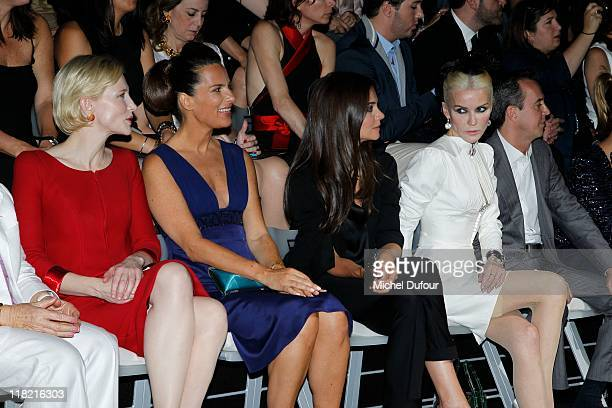 Cate Blanchett, Roberta Armani and Katy Holmes attend the Giorgio Armani Prive Haute Couture Fall/Winter 2011/2012 show as part of Paris Fashion Week...