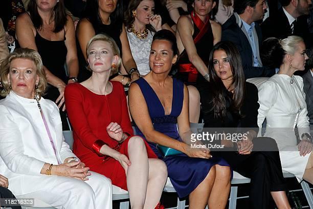Cate Blanchett, Roberta Armani and Katy Holmes attends the Giorgio Armani Prive Haute Couture Fall/Winter 2011/2012 show as part of Paris Fashion...