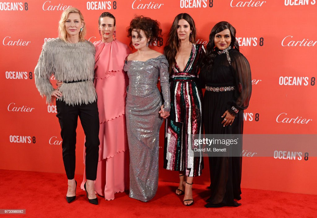 Cate Blanchett, Sarah Paulson, Helena Bonham Carter, Sandra Bullock and Mindy Kaling attend the 'Ocean's 8' UK Premiere held at Cineworld Leicester Square on June 13, 2018 in London, England.