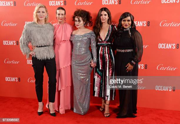 Cate Blanchett Sarah Paulson Helena Bonham Carter Sandra Bullock and Mindy Kaling attend the Ocean's 8 UK Premiere held at Cineworld Leicester Square...