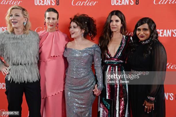 Cate Blanchett Sarah Paulson Helena Bonham Carter Sandra Bullock and Mindy Kaling attend the 'Ocean's 8' UK Premiere held at Cineworld Leicester...