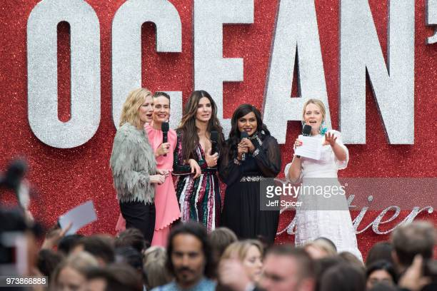Cate Blanchett Sarah Paulson Sandra Bullock Mindy Kaling and Edith Bowman attend the 'Ocean's 8' UK Premiere held at Cineworld Leicester Square on...