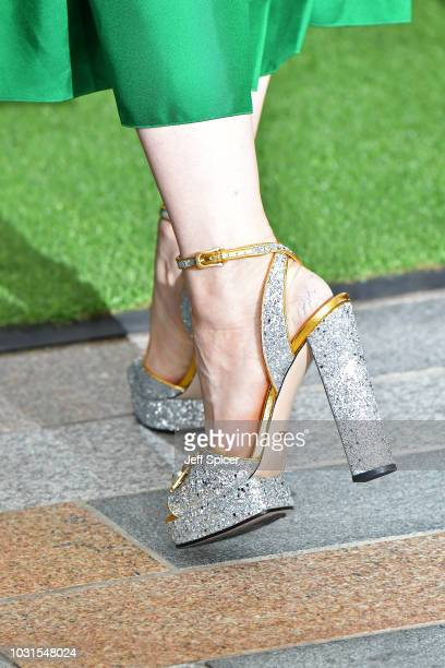 Cate Blanchett shoe detail attends the World Premiere of The House With The Clock In Its Walls at Westfield White City on September 05 2018 in London...