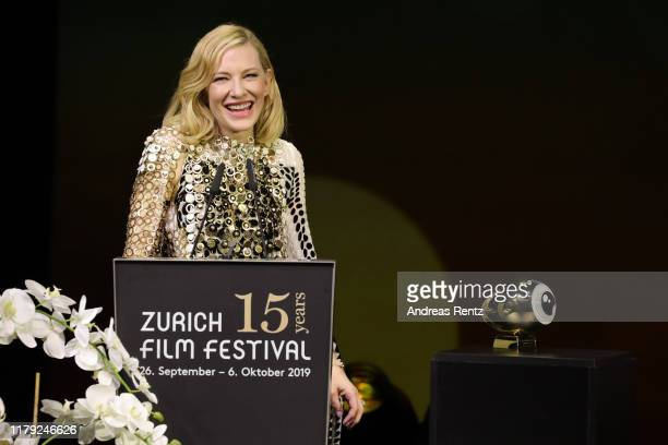 Cate Blanchett speaks on stage after receiving the ZFF Golden Icon Award at the Award Night Ceremony of the 15th Zurich Film Festival at Opera House...